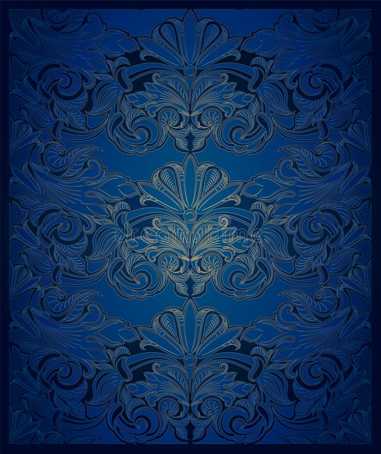 Vintage vertical background in a dark blue ultramarine with gold. With a classic pattern in the Baroque style, Rococo style with darkened edges stock illustration