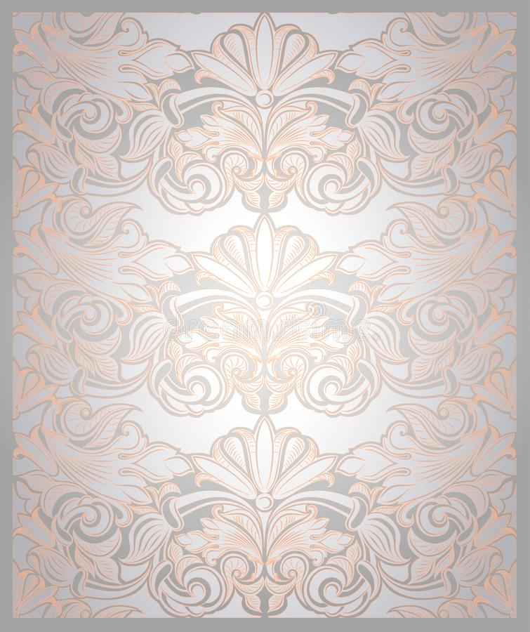 Vintage vertical background in pearl white with gold. With classic Baroque pattern, Rococo with darkened edges, wedding backgroundcard, invitation, banner stock illustration