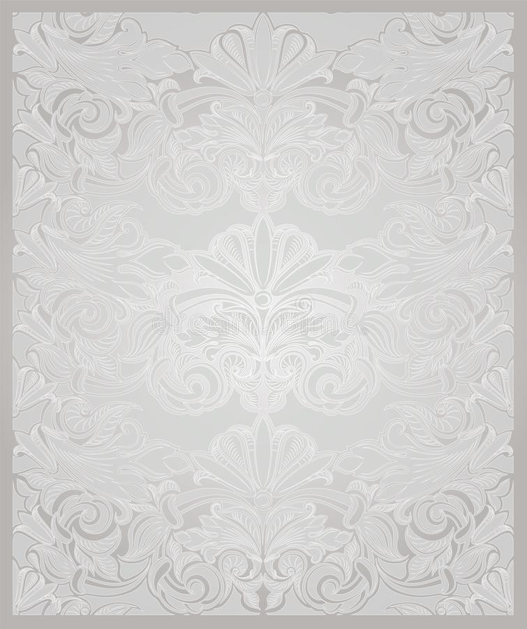 Vintage vertical background in pearl white with gold. With classic Baroque pattern, Rococo with darkened edges, wedding backgroundcard, invitation, banner royalty free illustration