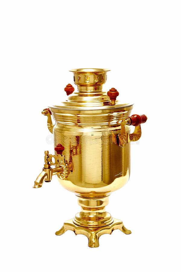 Vintage copper Russian samovar isolated on white background royalty free stock image