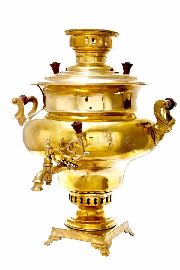 Vintage copper Russian samovar isolated on white background stock image