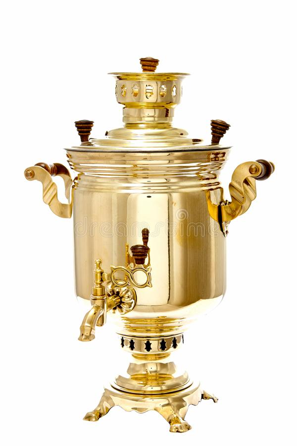 Vintage copper Russian samovar isolated on white background stock images