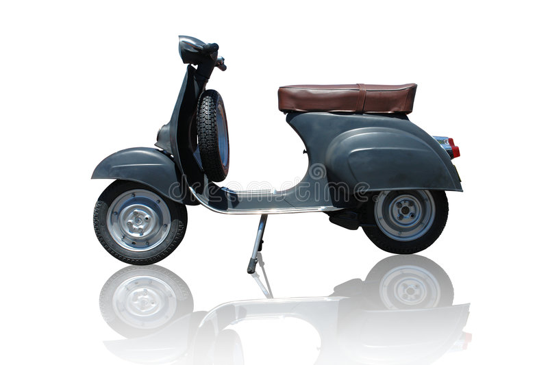 Vintage vespa scooter (path included) stock photography