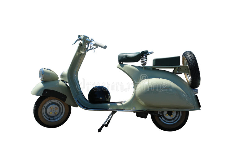 Vintage vespa scooter (path included) royalty free stock images