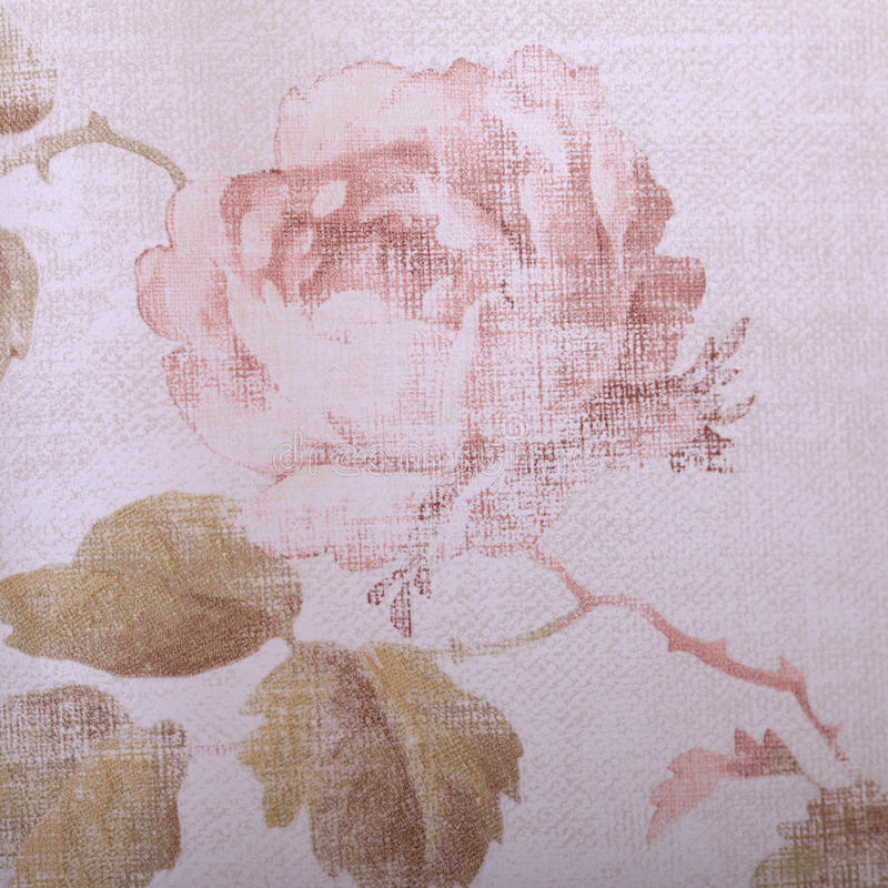 Vintage victorian wallpaper with rose floral pattern close up. Detail of vintage victorian wallpaper with pastel rose floral pattern close up, square image stock images