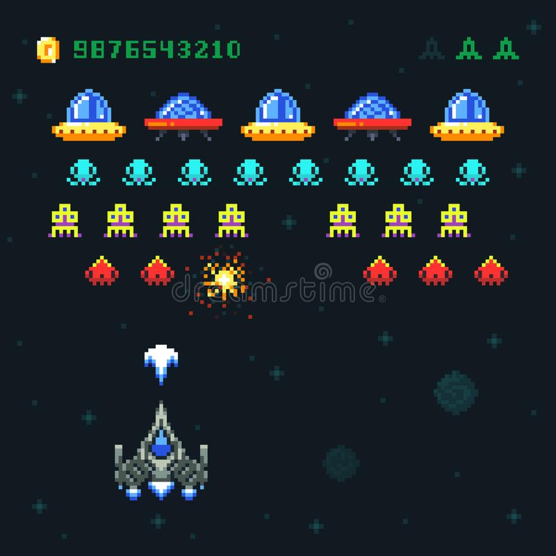 Vintage video space arcade game vector pixel design with spaceship shooting bullets and aliens royalty free illustration