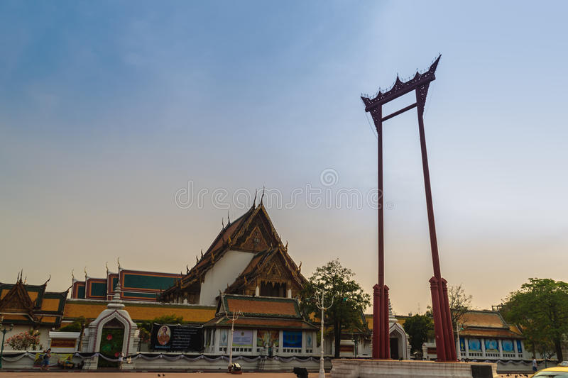 Vintage view of the Giant Swing, a religious structure which located in front of Wat Suthat temple. It was used in the Brahmin ce. Remony and is one of Bangkok stock image