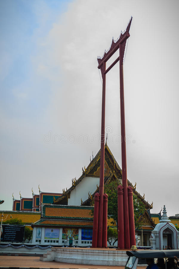 Vintage view of the Giant Swing, a religious structure which located in front of Wat Suthat temple. It was used in the Brahmin ce. Remony and is one of Bangkok stock photo