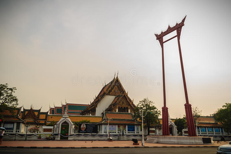 Vintage view of the Giant Swing, a religious structure which located in front of Wat Suthat temple. It was used in the Brahmin ce. Remony and is one of Bangkok royalty free stock image