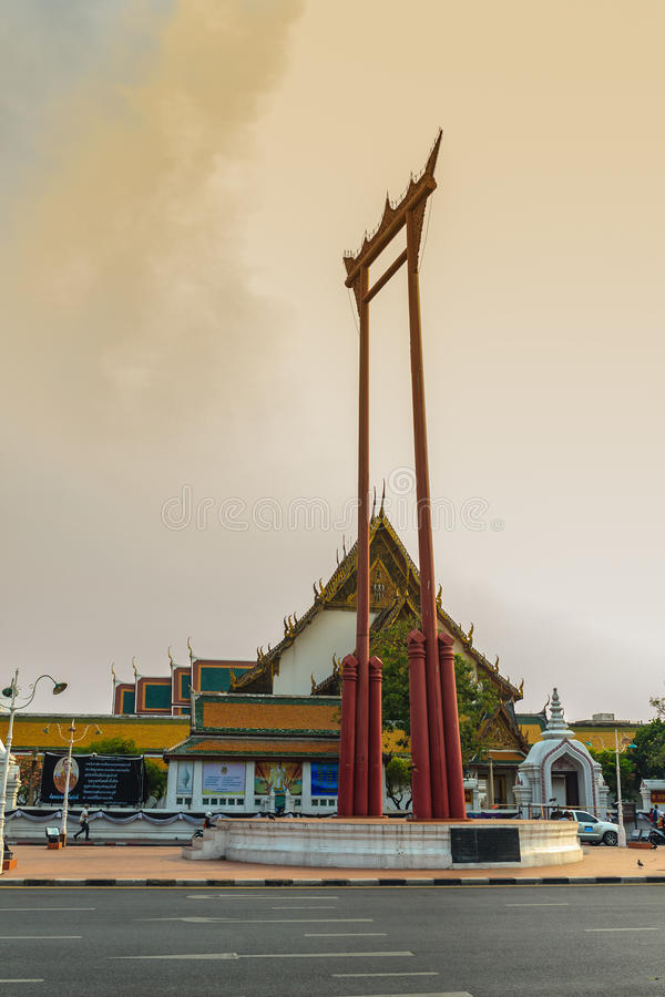 Vintage view of the Giant Swing, a religious structure which located in front of Wat Suthat temple. It was used in the Brahmin ce. Remony and is one of Bangkok stock photos