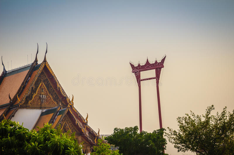 Vintage view of the Giant Swing, a religious structure which located in front of Wat Suthat temple. It was used in the Brahmin ce. Remony and is one of Bangkok royalty free stock photo