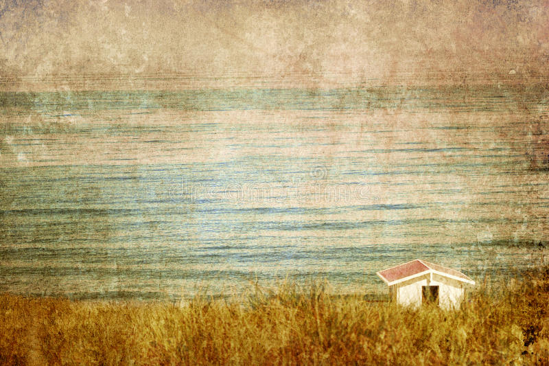 Vintage view on a house at the sea royalty free stock photos
