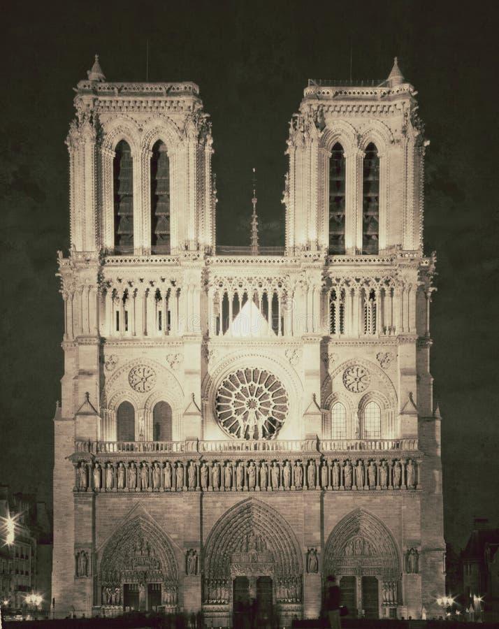 Vintage view of Notre dame de Paris - France. Great Vintage view of Notre dame de Paris - France stock photo