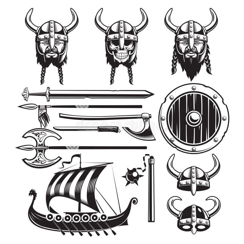 Vintage Viking Elements Set stock de ilustración