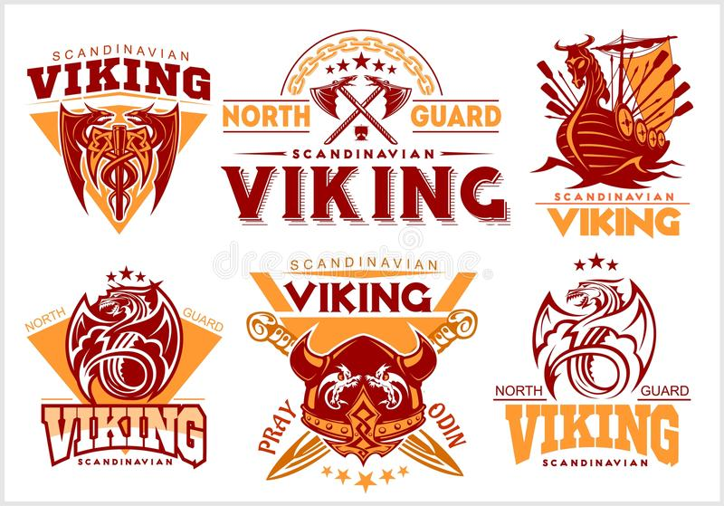 Vintage viking emblems set with scandinavian elements on white background vector illustration