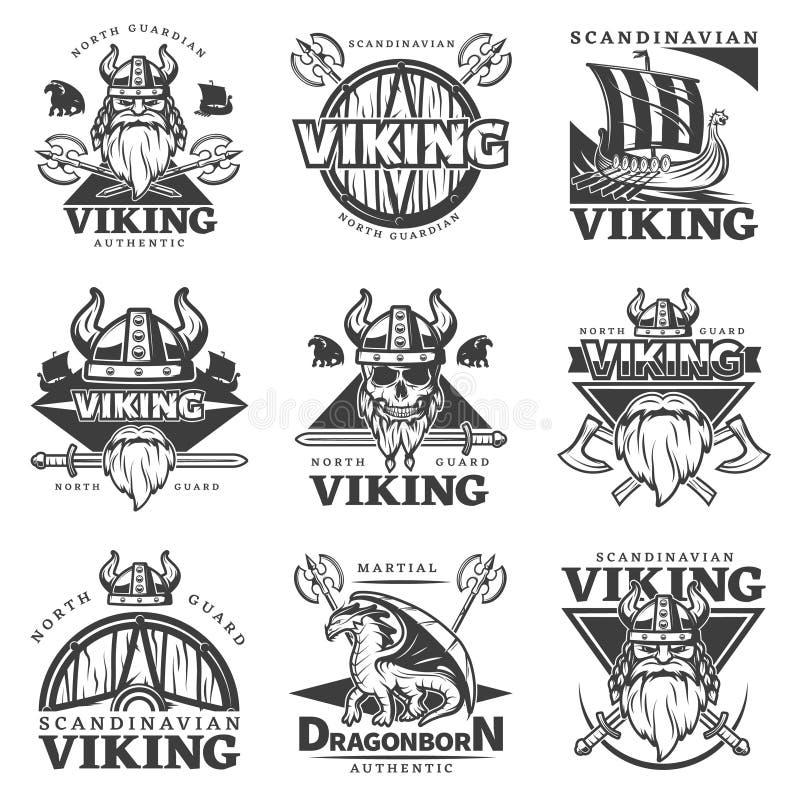 Vintage Viking Label Set stock de ilustración