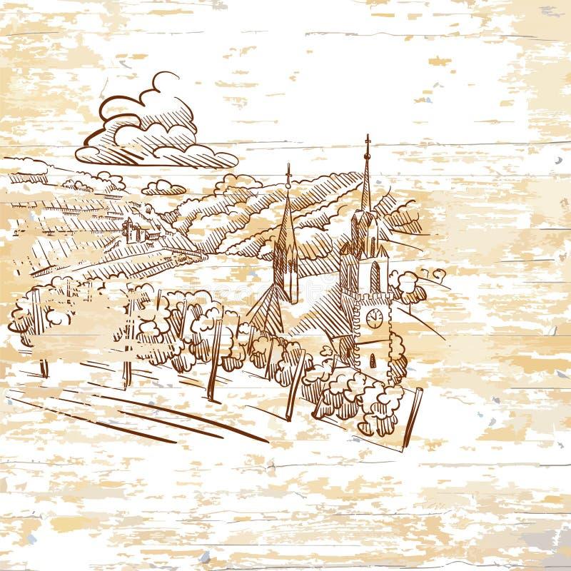 Vintage vineyard drawing on wooden background. Hand-drawn vector illustration vector illustration