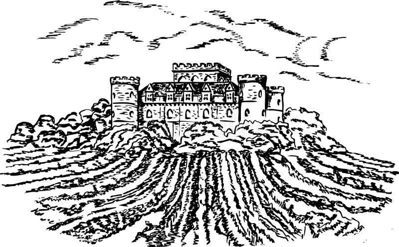 Vintage - vinhedo e castelo ilustração stock