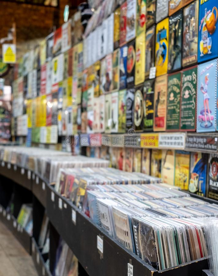 Vintage vinyl records on sale in a store in The Stables, Camden Market, London UK. Retro vinyl records on sale in a store in The Stables, Camden Market, London stock images