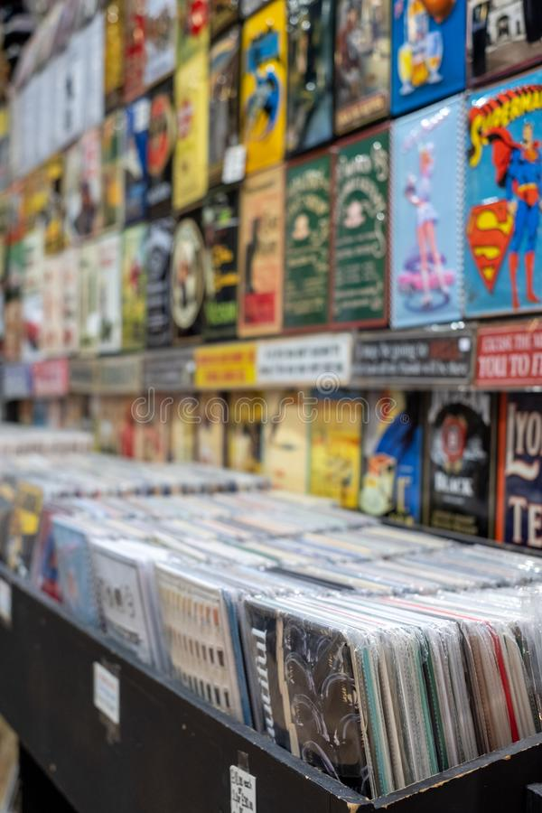 Vintage vinyl records on sale in a store in The Stables, Camden Market, London UK. Retro vinyl records on sale in a store in The Stables, Camden Market, London stock photos