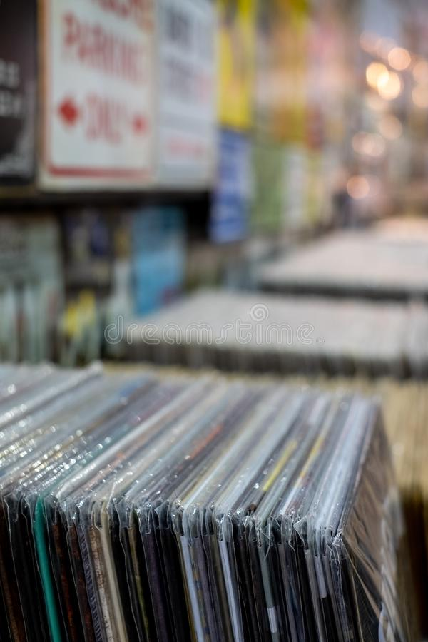 Vintage vinyl records on sale in a store in The Stables, Camden Market, London UK. Retro vinyl records on sale in a store in The Stables, Camden Market, London royalty free stock images