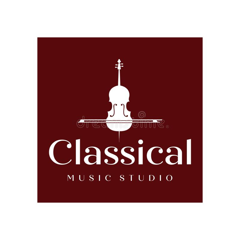 Vintage Violin or Cello logo design inspiration , classic and luxury logo designs stock illustration