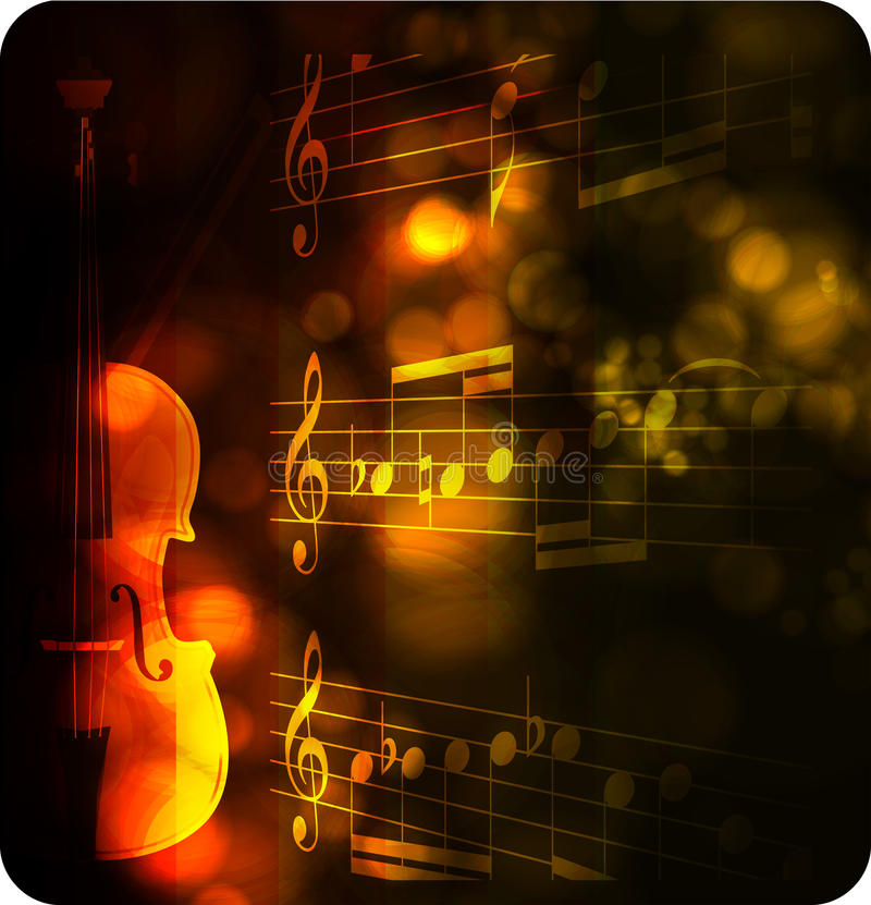 Vintage violin silhouette with note stock illustration