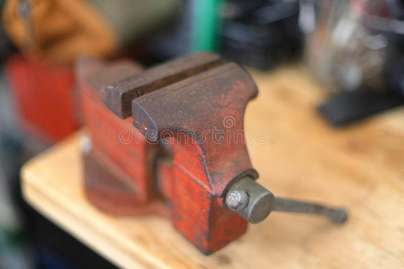 Super Red Vise On Work Bench With Hammer Stock Photo Image Of Frankydiablos Diy Chair Ideas Frankydiabloscom