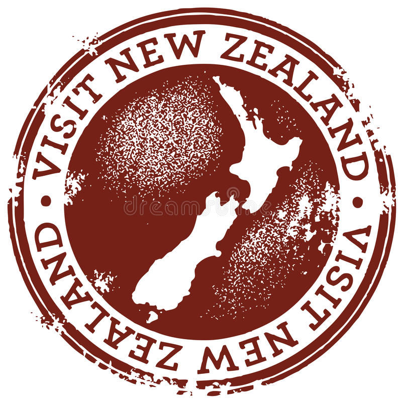 Vintage Visit New Zealand Stamp royalty free illustration