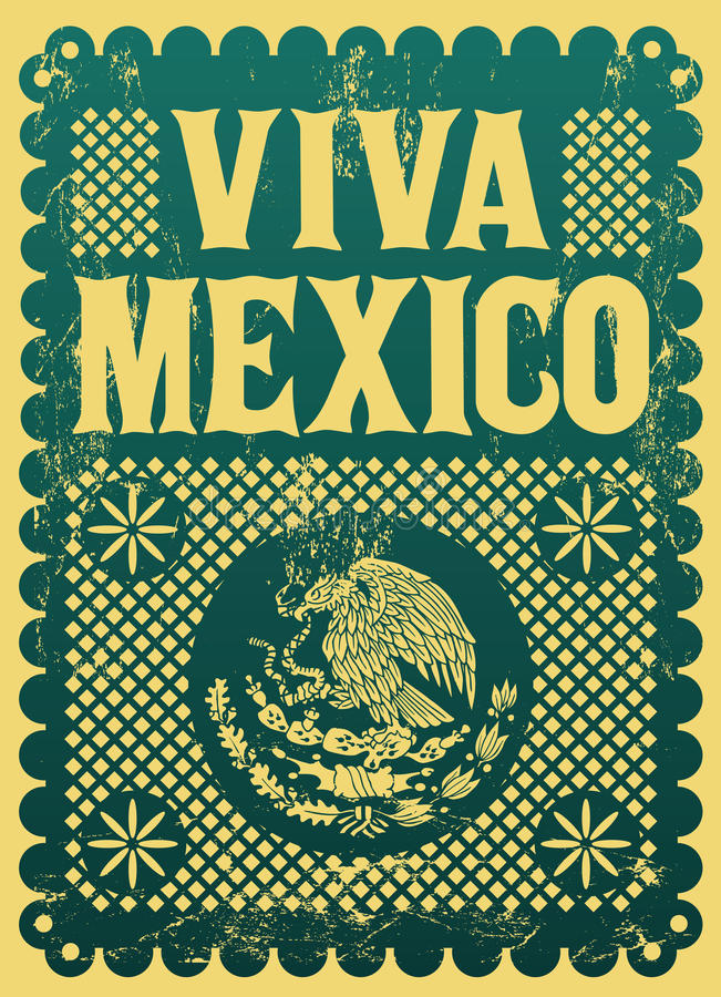 Vintage Viva Mexico - mexican holiday royalty free illustration