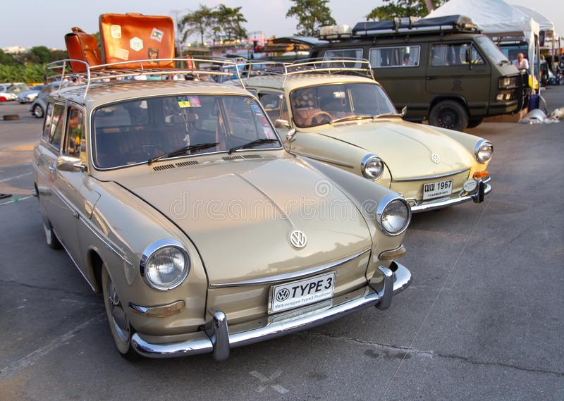 Vintage VW Type 3 owners gathering at volkswagen club meeting stock images