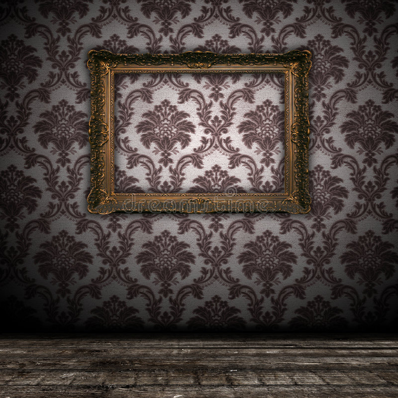 Vintage Wall Background With Empty Gold Frame Royalty Free