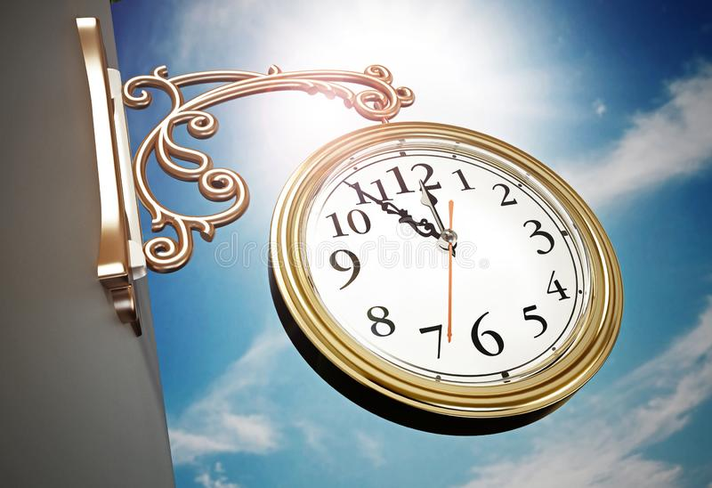 Vintage wall clock against blue sky. 3D illustration royalty free illustration