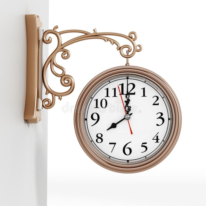 Vintage wall clock isolated on white background. 3D illustration.  vector illustration