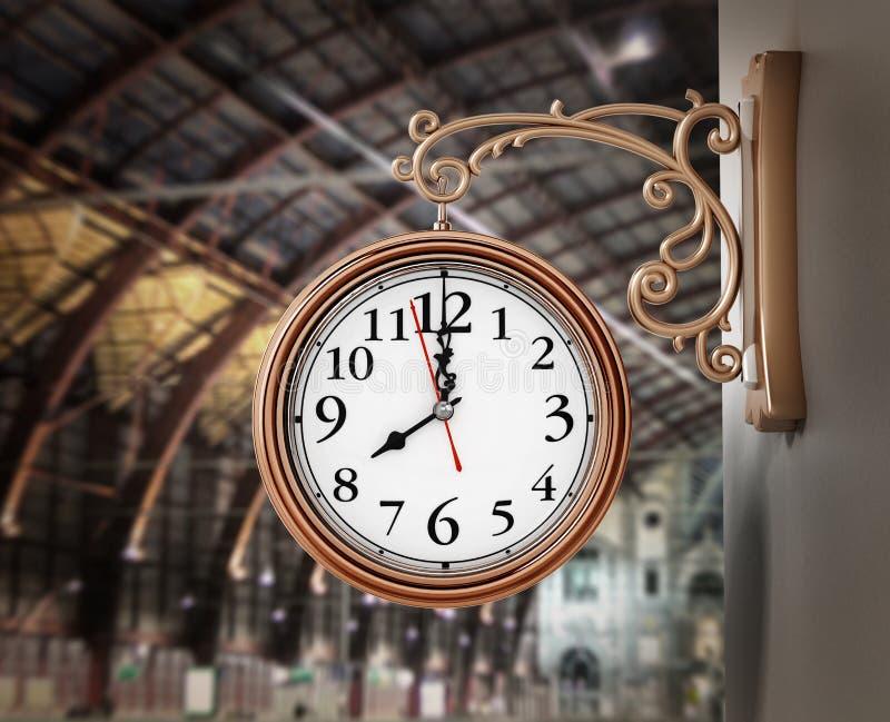 Vintage wall clock on the train station. 3D illustration.  stock illustration