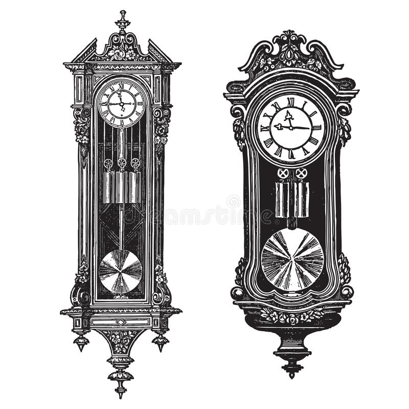 Vintage wall clocks, vector engraving set of two pieces. Ornate pendulum clocks stock illustration