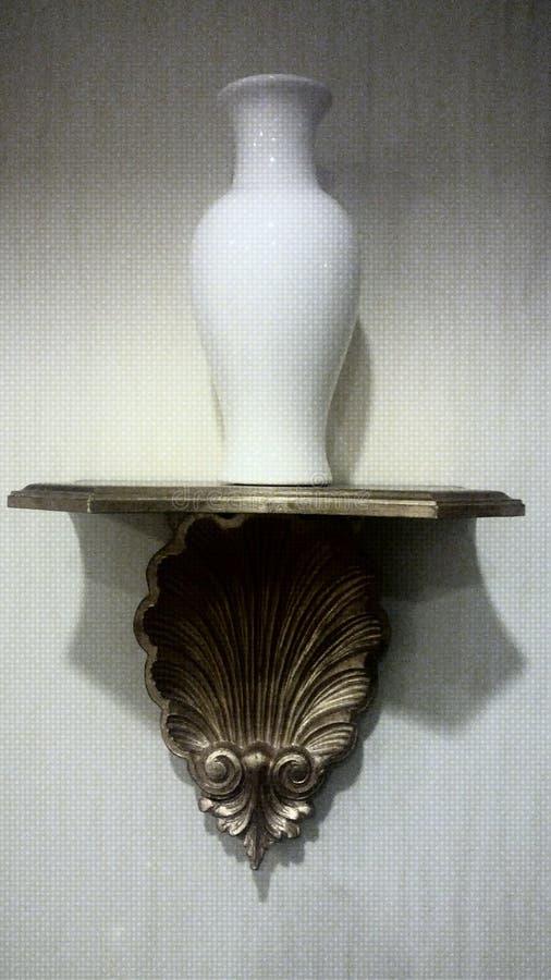 Ceramic Vase Wall Decor with base. Vintage wall mount ceramic vase in a base, wall pocket, wall decor, white botanical royalty free stock photos