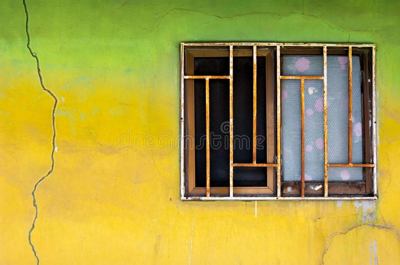 Vintage Wall On Old Window With Grating Stock Image - Image of paint ...