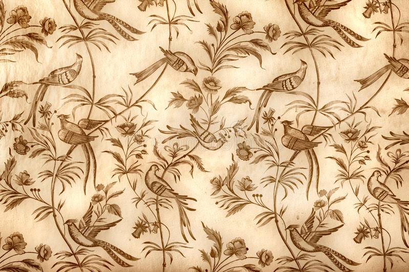 Vintage wallpaper. With flowers and birds for background stock photo