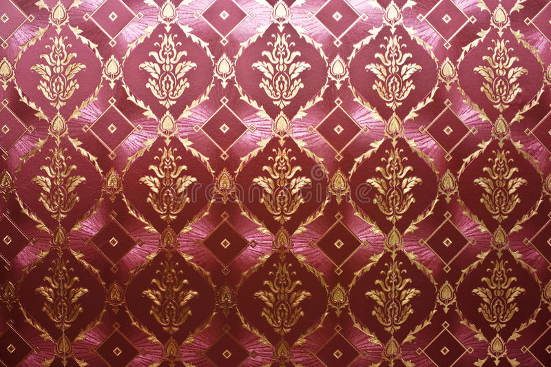 Vintage wallpaper. Red and golden dark vintage wallpaper stock photos