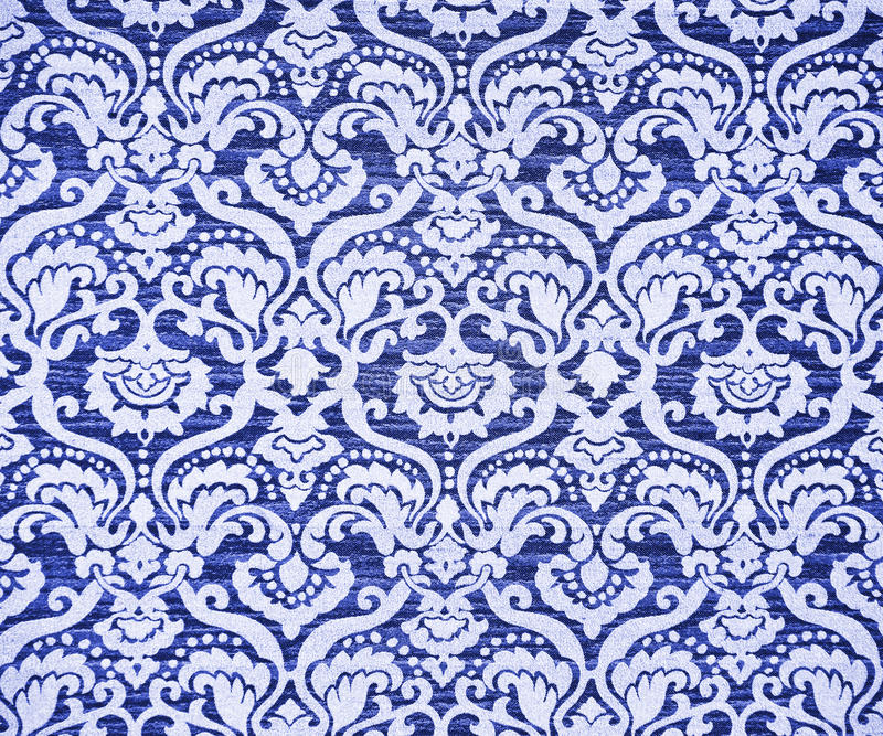 Vintage wallpaper. Blue ornate vintage wallpaper. Background or texture royalty free stock photo
