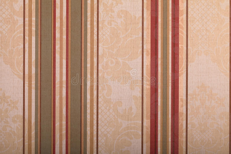 Vintage wallpaper background with stripes pattern. Vintage beige wallpaper background with green and red stripes pattern royalty free stock photos