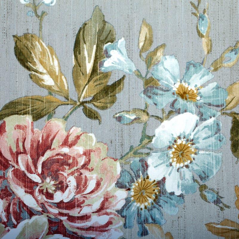 Vintage wallpaper with floral pattern. Vintage grey wallpaper with color floral victorian pattern, square image stock image