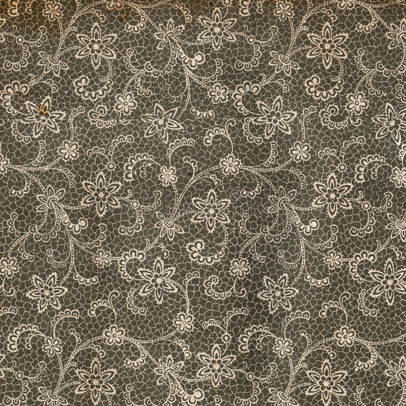 Vintage wallpaper - Lace. Used vintage wallpaper with lace - Flower bouquet - natural grainy surface - circa 1910 stock photos