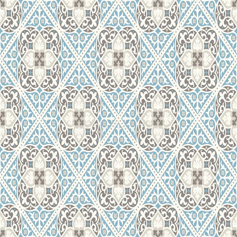 Free Vintage Wallpaper. Modern Geometric Pattern, Inspired By Old Wallpapers. Nice Retro Colors - Grey Beige And Calm Blue. Royalty Free Stock Photo - 119386495
