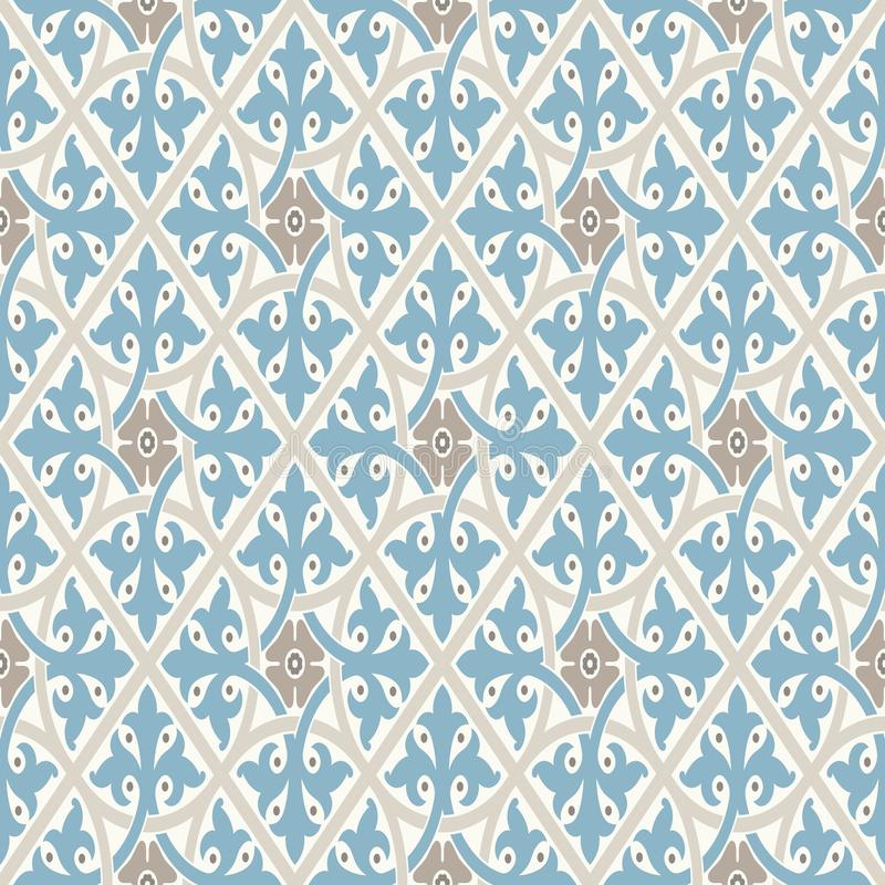 Free Vintage Wallpaper. Modern Geometric Pattern, Inspired By Old Wallpapers. Nice Retro Colors - Grey Beige And Calm Blue. Royalty Free Stock Photo - 119386515