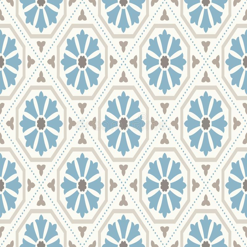 Vintage wallpaper. Modern geometric pattern, inspired by old wallpapers. Nice retro colors - grey beige and calm blue. royalty free illustration