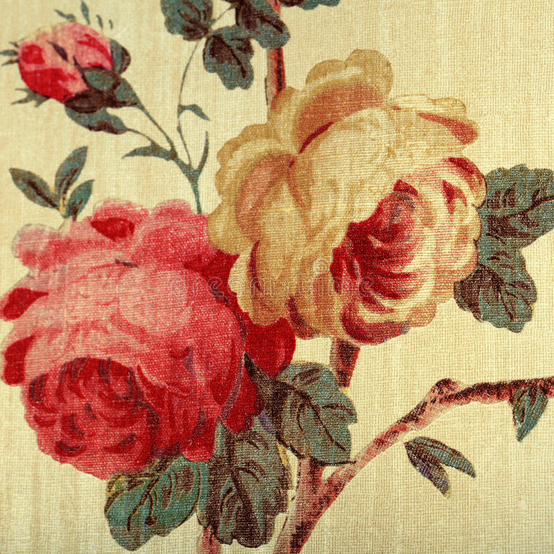 Vintage wallpaper with red rose floral victorian pattern. Detail of vintage wallpaper with red rose floral victorian pattern, square toned image stock photos