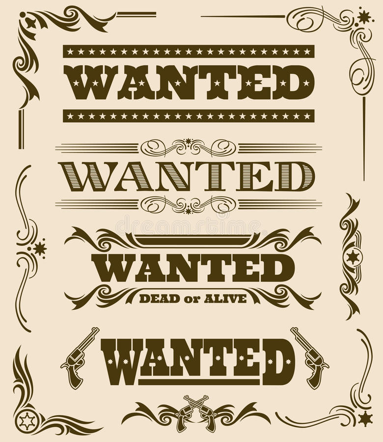 Free Vintage Wanted Dead Or Alive Western Poster Vector Frame Ornament Elements Royalty Free Stock Images - 91163889