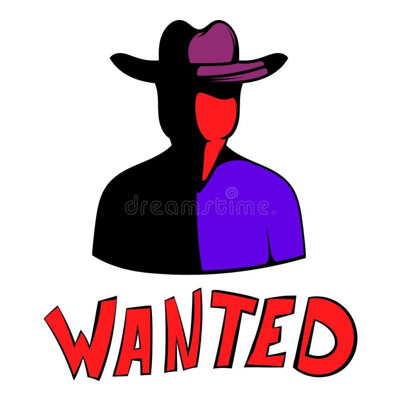 Vintage wanted poster icon, icon cartoon stock illustration